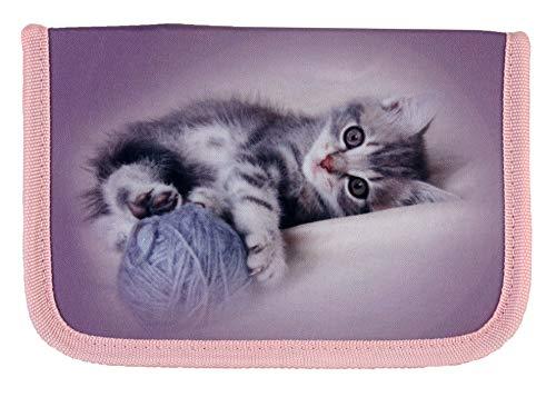 FUNKI Federmäppchen Cats mit Katzenmotiv, 18 Qualitäts-Farbstiften und Lineal von Faber Castell Grip, mit Spitzer, Radiergummi und Stundenplan, vioeltt/rosa, Polyester, 23x14x4cm
