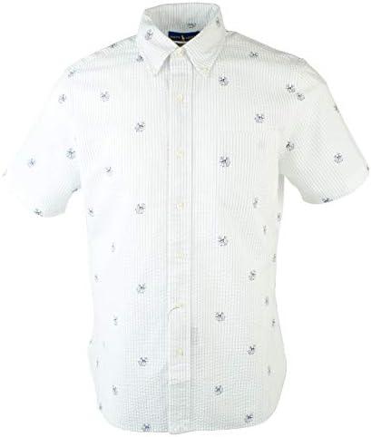 Men s Seersucker Dog Anchor Print Short Sleeve Shirt W M product image