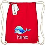 Shirtstown - Bolsa de Deporte para niños, diseño de delfín con el Nombre Que desees, Bio Fairtrade, Zoo, Animales, diseño con Texto en alemán, Color Rojo, tamaño Talla única