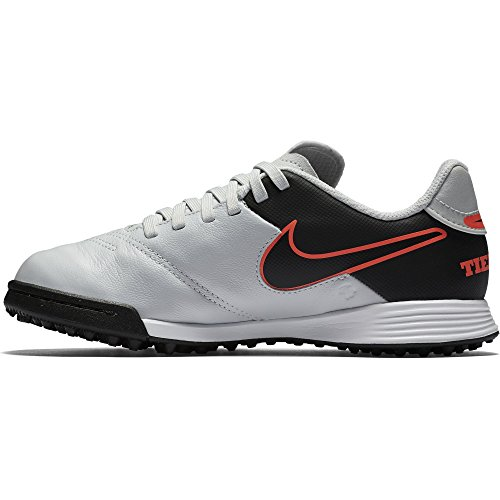 Nike JR Tiempo Legend VI TF, Scarpe da Calcio, Argento, Nero, Arancione (Pure Platinum Black Hypr Orng), 36.5 EU