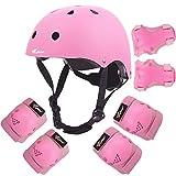 Joncom Kids Adjustable Helmet, with Sports Protective Gear Set Knee Elbow Wrist Pads for Toddler Age 3-8 Boys Girls, Bike Skateboard Hoverboard Scooter Helmet Set (Pink, 3-10 Yrs Childs)