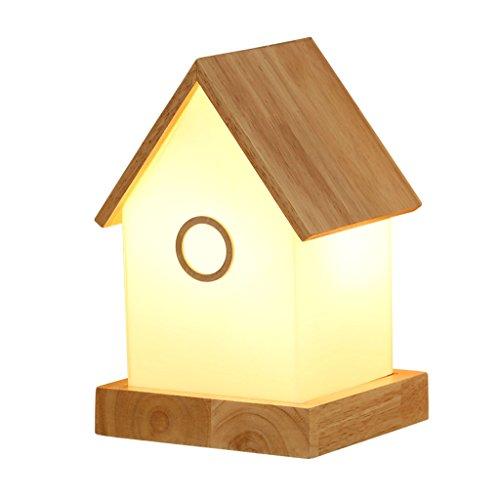HTDZDX Lámpara de mesa LED de protección ocular para niños Luz de cabecera, sala de estar en casa de madera maciza Dormitorio moderno Estudio Lámpara de escritorio Lámpara decorativa Forma de la casa