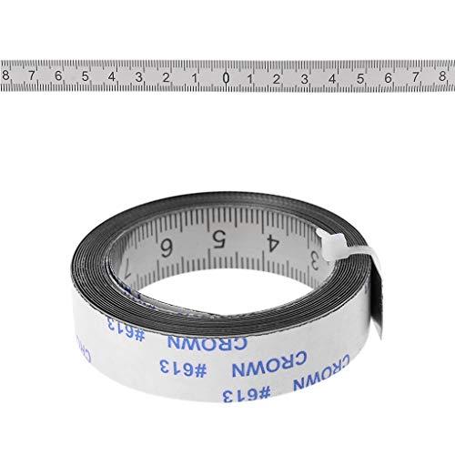 Mentin - Cinta de medición autoadhesiva de acero inoxidable (izquierda a derecha, derecha a izquierda, medio por ambos lados, 1/2/3 m (2 m, medio a 2 lados)