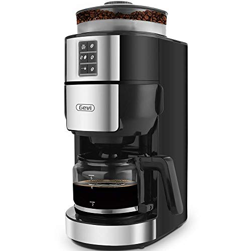 Grind and Brew Coffee Maker with Grinder, Gevi 5-Cup Programmable Coffee Maker with Strength Control and Keep Warm Plate, Black