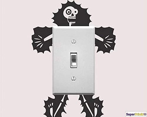 SUPERSTICKI Muurtattoo stopcontact lichtschakelaar Elektro skelet elektrische schokken deco hobby decoratie Home knutselen van high-performance folie sticker autosticker tuningsticker hoge prestaties