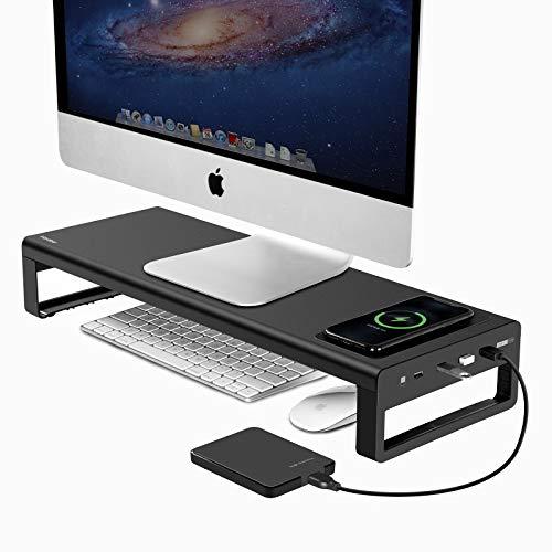 Vaydeer USB 3.0 Wireless Charging Monitorständer Aluminium Monitor Stand Riser Unterstützt Datenübertragung und Aufladung, Metall Monitor Ständer Unterstützung bis zu 32 Zoll für PC, Laptop - Schwarz