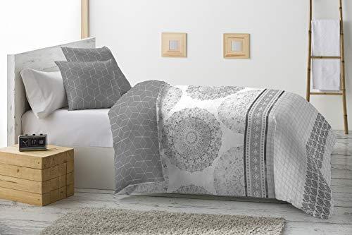 Energy Colors Textil - Hogar - Grecia - Relleno Nórdico 350 gr Reversible Estampado Tacto Pluma Otoño/Invierno (Oyex Gris, 230_x_260_cm (Cama 135))