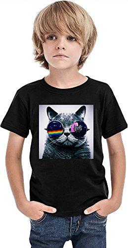 Gato con gafas eslogan niños camiseta, Negro, 2-3 Años