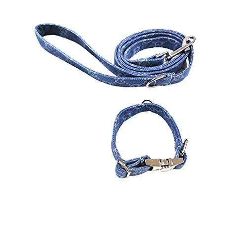 ZZCR Collar De Perro Mascota Collar De Hebilla Ajustable De Varios Tamaños Collar Anti-Perdido para Caminar Conjunto De Correa De Collar Azul S