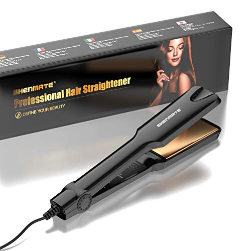 SHENMATE Professional Titanium Flat Iron Hair Straightener with Digital LCD Display, Dual Voltage, Instant Heating, 1.75 Inch Wide Black.