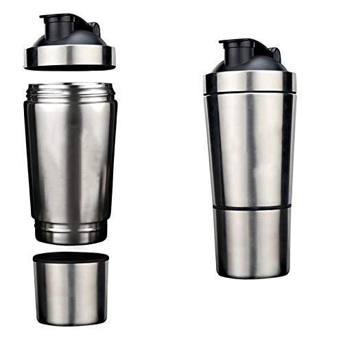 Shaker Stainless Steel Sport Mixer Bottle Powder Container 1 Pc