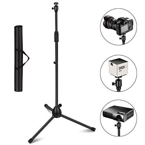 Projector Stand, Thustar Portable Tripod Stand Lightweight Adjustable Height 29.5' to 55.1' Floor Stand Holder 360°Swivel Ball Head for Projector, Small Camera, Webcam, GoPro with Carry Bag