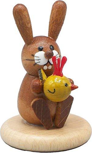 Rudolphs Schatzkiste Osterhase auf Sockel mit Küken Höhe 5 cm NEU Osterfigur Osterdeko Holz Hase