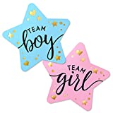 """2.25"""" Gender Reveal Stickers for Party Invitations and Voting Games (80 Count) - Team Boy and Team Girl Labels with Gold Foil for Reveal Parties and Baby Showers 