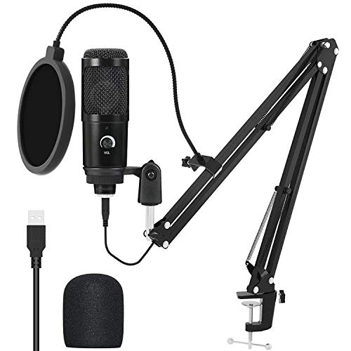 USB Condenser Microphone Kit, Streaming Podcast PC Condenser Computer Mic for Gaming, YouTube, Recording Music, Karaoke on PC, Plug & Play, Voice Over Studio Mic Bundle with Adjustment Metal Arm Stand