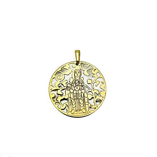 Medalla Virgen de Montserrat Plata de Ley Cubierta de Oro de 18kt