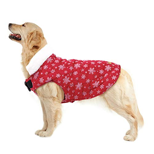 Kuoser Christmas Snowflake Cold Weather Dog Coat for Winter Reflective Reversible Dog Warm Fleece Jacket Waterproof Windproof Dog Vest with Furry Collar for Small Medium Large Dogs Red S