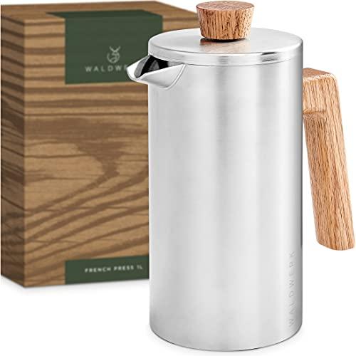 WALDWERK French Press (1L) - Kaffeebereiter aus doppelwandigem Edelstahl mit Holzgriff aus Eichenholz - plastikfreier Kaffeezubereiter