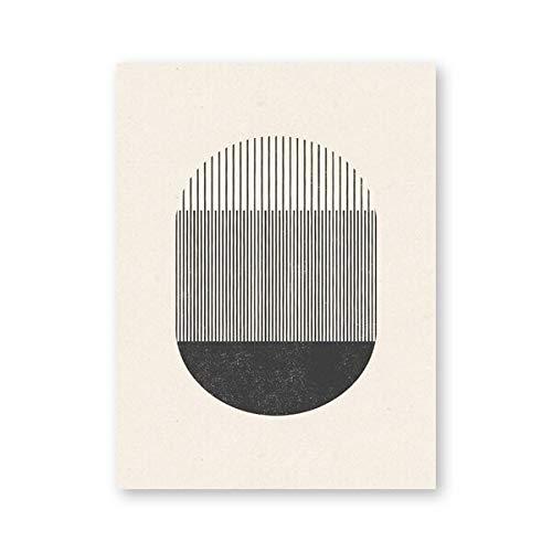 Mediados de siglo Estilo Woodblock un juego con formas geométricas y líneas de pintura de la lona...