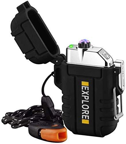 lcfun Lichtbogen Feuerzeug, Wasserdicht Winddicht Plasma-Feuerzeug USB Aufladbar Elektronisches Feuerzeug, mit Notfall-Pfeife für Camping, Abenteuer, Survival Taktische Ausrüstung (Schwarz)