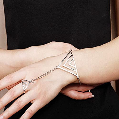 Sttiafay Pulsera de anillo de dedo triangular, arnés de mano, cadena ajustable, pulsera de cadena esclava para mujeres y niñas regalos