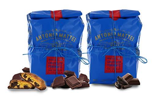 Cantucci con Cioccolato Fondente, Biscotti con Gocce di Cioccolato, Sacchetto 250g (Confezione da 2 Pezzi)