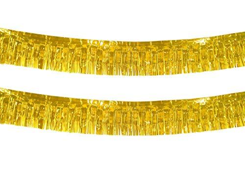 10 Feet Long Roll Gold Foil Fringe Garland - Pack of 2   Shiny Metallic Tassle Banner   Ideal for Parade Floats, Bridal Shower, Bachelorette, Wedding, Birthday   Wall Hanging Fringe Garland Banner