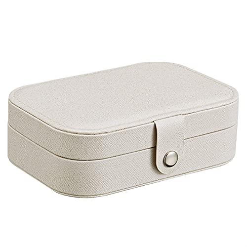 Caja de almacenamiento de joyería moderna y elegante, estilo coreano, para niña, estilo fresco y simple, caja de joyería de cuero Protable, anillo de joyería multifunción (color blanco flash)