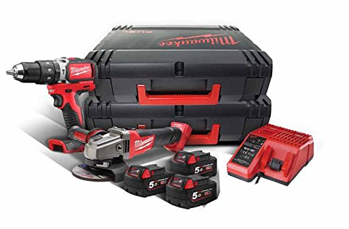 Milwaukee 4933459041 Werkzeugset M18blpd-0 + m18cag125x-0 + 3 x m18b5