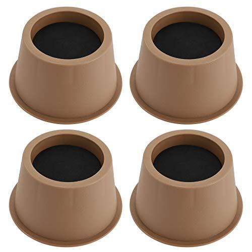 BSTKEY Set de 4 elevadores de cama de 5 cm, elevadores de escritorio, elevadores de mesa, elevadores circulares para sofá, muebles elevadores, color marrón