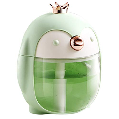 TOOGOO Humidificador UltrasóNico PortáTil Cute Pet Penguin 300ML Air USB Aroma Difusor de Aceite Esencial con LáMpara de Noche de Color Verde
