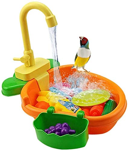 CLQ Papagei Automatik Badewanne Pool Mit Wasserhahn Vogel Dusche Badewanne Vogel Elektrischer Wasserhahn Vogelkäfig Badespielzeug