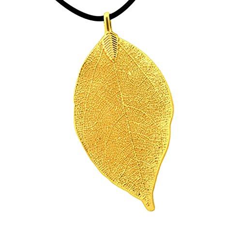 Almencla Collar con Colgante de Hoja de Filigrana en Tono Dorado de 18 Quilates, Cordón de Cuerda Negra, Joyería Boho