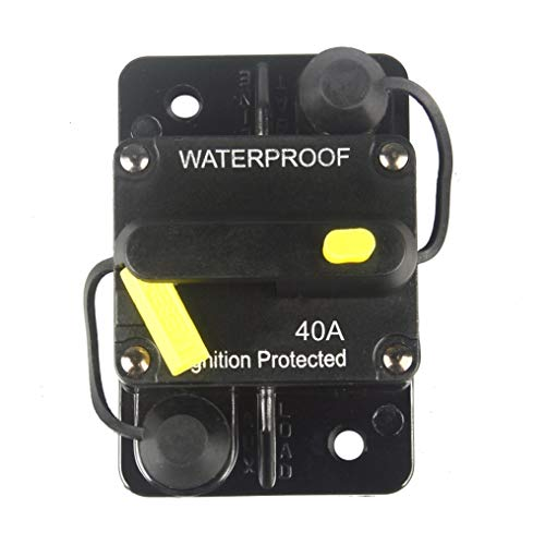 WOHHOM 40 Amp Circuit Breaker DC 12V -48V Waterproof 30A-300A Manual Reset Fuse Inverter for Trolling Motor Auto Car RV Marine Boat Current Overload Protection (40A)