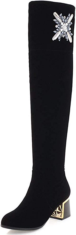 Ghssheh Women's Elegant Rhinestone Pointed Toe Medium Block Heels Side Zipper Above The Knee Boots Red 4 M US