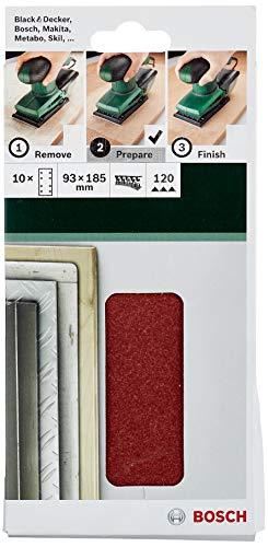 Bosch Schleifblatt (für Schwingschleifer verschiedene Materialien, 10 Stück, 93 x 185 mm, Körnung 120)