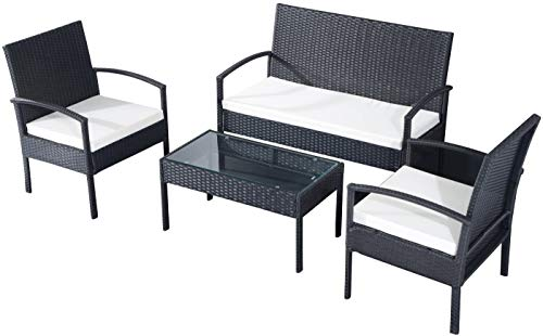 EBS My Furniture - Set di mobili da giardino in rattan, set di mobili da giardino e veranda, in vimini, per divano, tavolino da caffè, cuscino, colore: crema