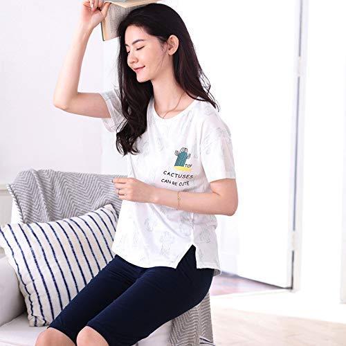 HeiPlaine Süße Nachtwäsche Sommer Kurzarm-fünf-Hosen-Baumwolle kann außerhalb des Mädchens Cartoon Pyjamas lässig Komfort XL Home-Service (Farbe: Weiß, Größe: XXL) getragen Werden Sexy Nachthemd