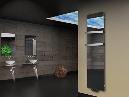 Badheizkörper Design Montevideo 3 (Spiegelglas) HxB: 180 x 47 cm, 1118 Watt Spiegel + 2 Handtuchhalter 50mm (Marke: Szagato) Made in Germany/Bad und Wohnraum-Heizkörper Spiegel (Mittelanschluss)
