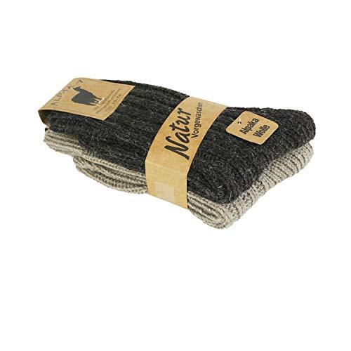 Gowith Printams Alpaka Schafwolle Polyamid Damen Socken Wintersocken, Winter Wollesocken Dicke Baumwolle Stricksocke Bunte Farben Baumwollsocken3094 (39-42, Grau-Schwarz)