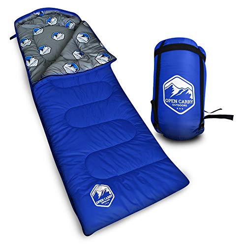Sleeping Bag – Warm & Cold 4 Season Weather for Year Round Camping, Backpacking, – Ultra Lightweight, Waterproof, Portable Envelope Sleeping Bag for Adults, Kids with Compression Carrier Sack