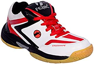 Feroc Red & White Badminton Sports Shoe