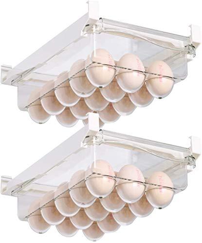 shopwithgreen Fridge/Freeze Binz Eierbehälter, 2 Stücke Kühlschrank-Eier-Halter, Eiereinsatz für Kühlschrank, Ei Aufbewahrungsbox mit Versenkbarer Stange | Stores 30 Eggs (Transparent)