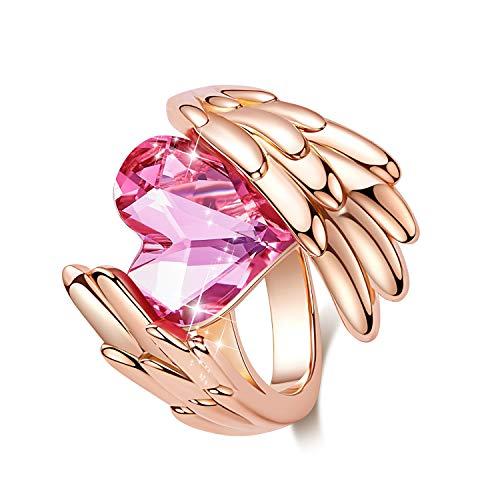 CDE Swarovski Angel Ring Herzform Knuckle Midi Ringe Damenring Eheringe Verlobungsring Trauring Schmuck Geschenkbox Valentinstag Mutterstag (Rose Gold, 60 (19.1))