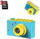 ShinePick Kamera Kinder, Digitalkamera Kinder, Wasserdicht / 8MP / HD 1080P / 2 Inch Bildschirm / Foto & Video / Rahmen / Filter, Kinder Fotoapparat mit 32G Speicherkarte, Geschenke für Kinder (Blau)