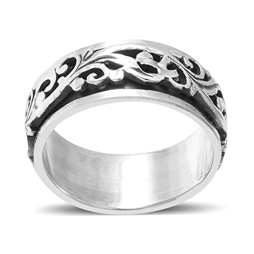 925 Sterling Silver Mens Womens Spinner Band Ring Boho Handmade Stress Anxiety Relieving Statement Celtic Fashion Floral Gifts Jewelry Size 7