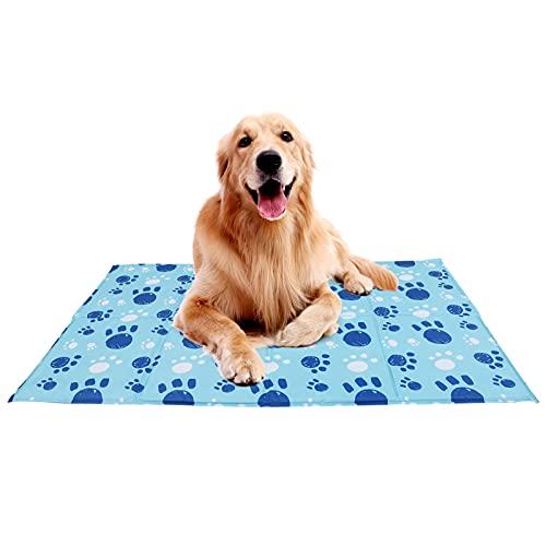 Wdmiya Kühlmatte für Hunde Katze   70*120 cm, Blau   Wasserdicht Ungiftige Selbstkühlende Matratze für Haustier   Robust Hundebett Hundedecke Hundekissenfür Sommer