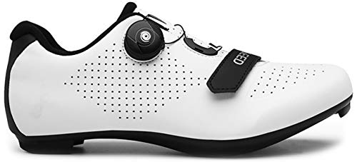 Cycling Shoes Women's Indoor Cycling Class Spin Cleat Delta Shoes SPD/SPD-SL Compatible Girls Bike Exercise Breathable Comfortable Rider Shoes(White,8)