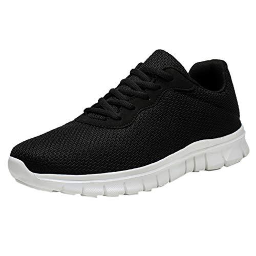 Couple Mouche Tissé Chaussures de Sport Course Respirantes Occasionnels en Plein Air Outdoor Lace-up Décontracté Maille Fitness Tennis Athlétique Sneakers (39.5 EU, Noir)
