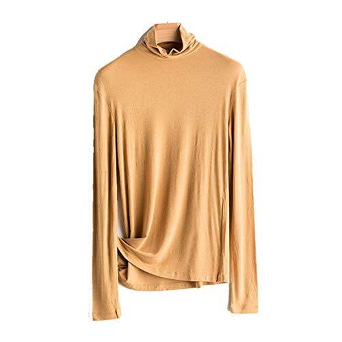 Almohada Camisa con Cuello de Cuello Alto Camiseta de Manga Larga para Mujer Camiseta de Color sólido Primavera y otoño Slim Fit Ropa Interior Superior